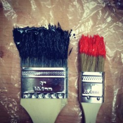paintbrushes on plastic