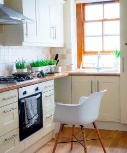 plastic chair in kitchen